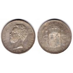 Amadeo I. 1871*(18-71). 5 Pesetas (EBC) (Plata) Ceca de Madrid SN-M