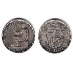España (II República). 1933*(3-4). 1 Peseta (SC) (Plata)