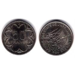 (11) Estados Africa Central. 1984(D). 50 Francs (SC)