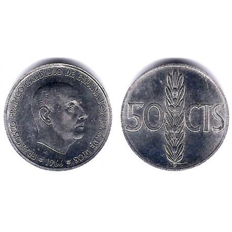 Estado Español. 1966*(19-69). 50 Céntimos (EBC) Exceso de metal