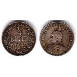 (8) África Oriental Alemana. 1913(J). Quarter Rupie (MBC+) (Plata)