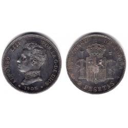Alfonso XIII. 1905*(19-05). 2 Pesetas (EBC+) (Plata) Ceca de Madrid SM-V