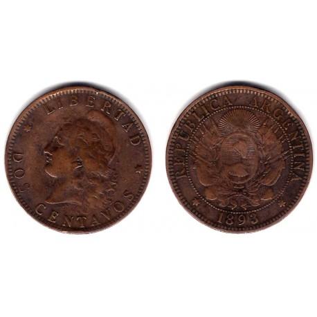 (33) Argentina. 1893. 2 Centavos (MBC-)