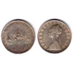 (98) Italia. 1959. 500 Lira (MBC-) (Plata)