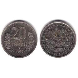 (5) Uzbekistan. 1994. 20 Tiyin (BC) Dañada