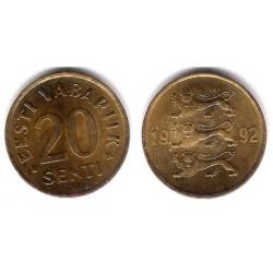 (23) Estonia. 1992. 20 Senti (EBC)