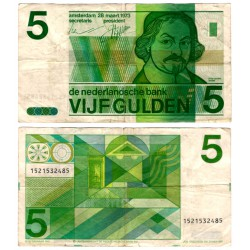 (95) Paises Bajos. 1973. 5 Gulden (BC) Pequeñas roturas margen