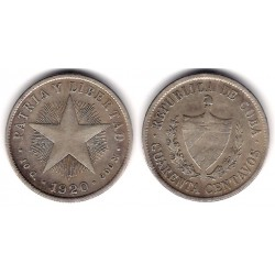 (14.3) Cuba. 1920. 40 Centavos (MBC) (Plata)