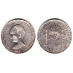 Alfonso XIII. 1891*(18-91). 5 Pesetas (BC) (Plata) Ceca de Madrid PG-M