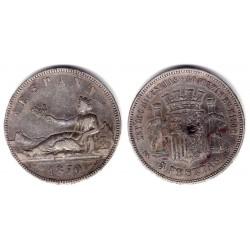 Gobierno Provisional. 1870*(18-70). 5 Pesetas (MBC) (Plata) Ceca de Madrid SN-M. Variante