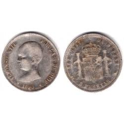 Alfonso XIII. 1890*(18-90). 5 Pesetas (BC) (Plata) Ceca de Madrid MP-M