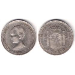 Alfonso XIII. 1890*(18-90). 5 Pesetas (MBC) (Plata) Ceca de Madrid MP-M