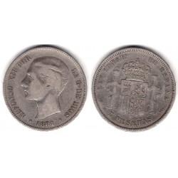 Alfonso XII. 1881*(-----). 5 Pesetas (BC) (Plata) Ceca de Madrid MS-M
