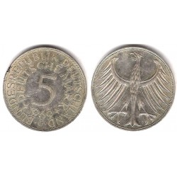 (112.1) Alemania. 1969(G). 5 Mark (MBC-) (Plata)