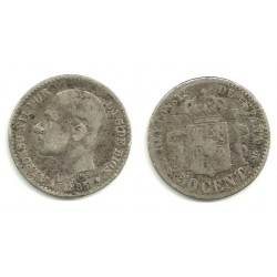 Alfonso XII. 1885*(8--). 50 Céntimos (RC) (Plata) Ceca de Madrid MS-M
