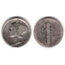 (140) Estados Unidos de América. 1928. 1 Dime (BC+) (Plata)