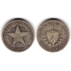 (A12) Cuba. 1920. 10 Centavos (BC) (Plata)