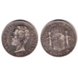 Amadeo I. 1871*(18-74). 5 Pesetas (BC+) (Plata) Ceca de Madrid DE-M