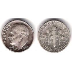 (195) Estados Unidos de América. 1963(D). 1 Dime (MBC+) (Plata)