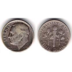 (195) Estados Unidos de América. 1947. 1 Dime (MBC-) (Plata)
