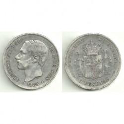 Alfonso XII. 1885*(18-87). 5 Pesetas (BC) (Plata) Ceca de Madrid MS-M