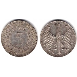 (112.1) Alemania. 1966(D). 5 Mark (MBC-) (Plata)