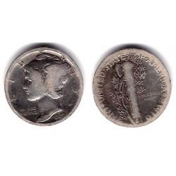 (140) Estados Unidos de América. 1927. 1 Dime (BC+) (Plata)