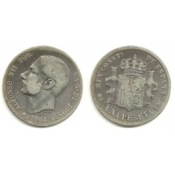 Alfonso XII. 1885*(-----). 1 Peseta (BC) (Plata) Ceca de Madrid MS-M