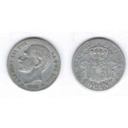Alfonso XII. 1885*(8-6). 50 Céntimos (BC) (Plata) Ceca de Madrid MS-M