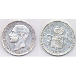 Alfonso XII. 1885*(18-87). 5 Pesetas (MBC) (Plata) Ceca de Madrid MS-M