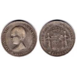 Alfonso XII. 1892*(---92). 5 Pesetas (BC) (Plata) Ceca de Madrid PG-M