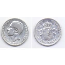 Alfonso XII. 1885*(-----). 1 Peseta (MBC) (Plata) Ceca de Madrid MS-M