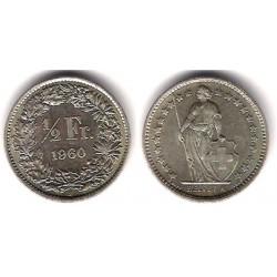 (23) Suiza. 1960(B). ½ Franc (EBC) (Plata)