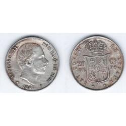 Alfonso XII. 1885. 20 Centavos (MBC) (Plata) Ceca de Manila