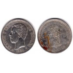 Amadeo I. 1871*(18-14). 5 Pesetas (BC) (Plata) Ceca de Madrid DE-M