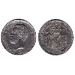 Amadeo I. 1871*(18-18). 5 Pesetas (MBC+) (Plata) Ceca de Madrid SD-M
