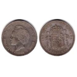Alfonso XIII. 1893*(-----). 5 Pesetas (BC) (Plata) Ceca de Madrid PG-V