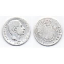 Alfonso XII. 1884. 20 Centavos (RC) (Plata) Ceca de Manila