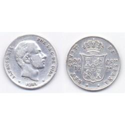 Alfonso XII. 1884. 20 Centavos (MBC) (Plata) Ceca de Manila