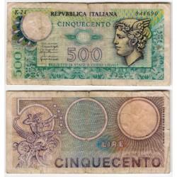 (94) Italia. 1974. 500 Lira (RC) Pequeña rotura doblez central