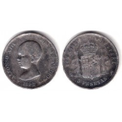 Alfonso XIII. 1892*(---9-). 5 Pesetas (BC-) (Plata) Ceca de Madrid PG-M