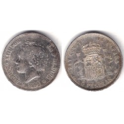 Alfonso XIII. 1892*(18-92). 5 Pesetas (BC) (Plata) Ceca de Madrid PG-M