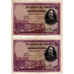 España. 1928. 50 Pesetas (x2) (MBC) Serie D. Pareja