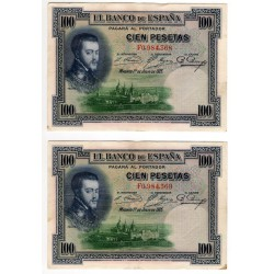 España. 1925. 100 Pesetas (x2) (MBC) Serie F. Pareja