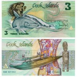 (3a) Islas Cook. 1987. 3 Dollars (SC)