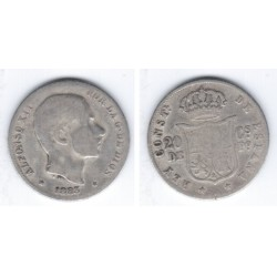 Alfonso XII. 1883. 20 Centavos (RC) (Plata) Ceca de Manila
