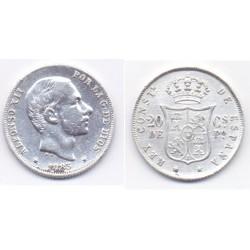 Alfonso XII. 1883. 20 Centavos (EBC) (Plata) Ceca de Manila
