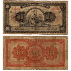 (75) Perú. 1955. 10 Soles de Oro (RC) Roturas varias