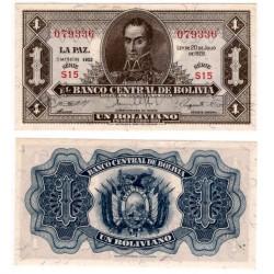 (128c) Bolivia. 1952. 1 Boliviano (SC)