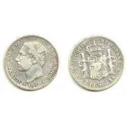 Alfonso XII. 1882*(18---). 2 Pesetas (RC) (Plata) Ceca de Madrid MS-M